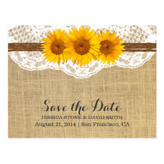 Twine & Sunflower Lace Burlap Save the Date Postcard