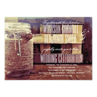 Twine Wrapped Mason Jar Heart Key Wedding Invites 4.5