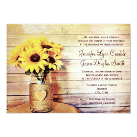 Twine Wrapped Mason Jar Sunflower Wedding Invites