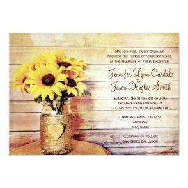 Twine Wrapped Mason Jar Sunflower Wedding Invites 4.5