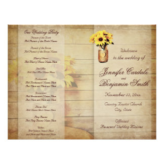 Twine Wrapped Mason Jar Sunflower Wedding Program