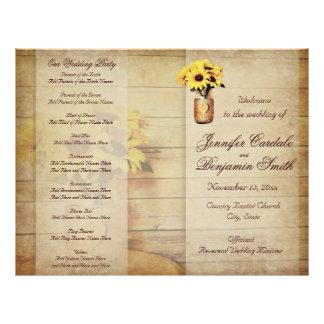 Twine Wrapped Mason Jar Sunflower Wedding Program Flyer