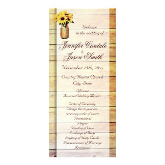Twine Wrapped Mason Jar Sunflower Wedding Programs Personalized Rack Card