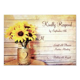 Twine Wrapped Mason Jar Sunflower Wedding RSVP Card