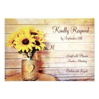 Twine Wrapped Mason Jar Sunflower Wedding RSVP Invitation