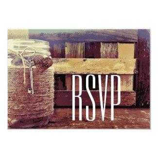 Twine Wrapped Mason Jar Wedding RSVP Cards 3.5