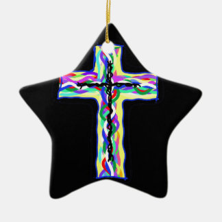 Twined Cross Ceramic Ornament