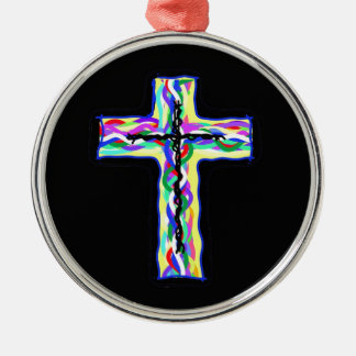 Twined Cross Metal Ornament