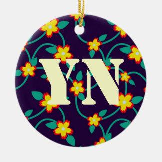 Twining Vines Bright monogram Ceramic Ornament