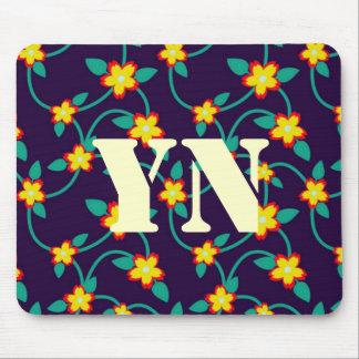 Twining Vines Bright monogram Mouse Pad