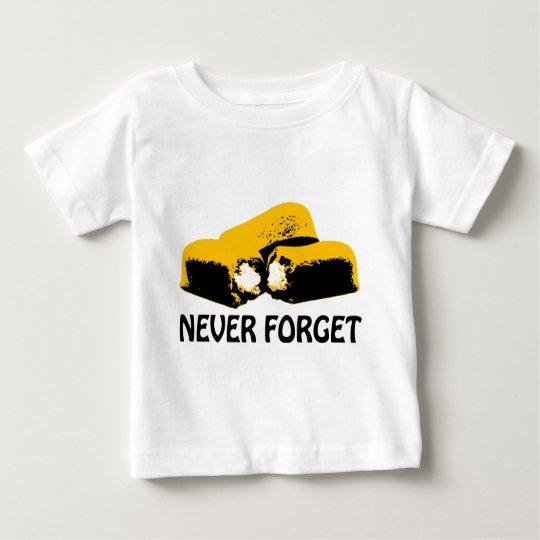 Twinkies nunca olvida diseño del alto contraste playera de bebé