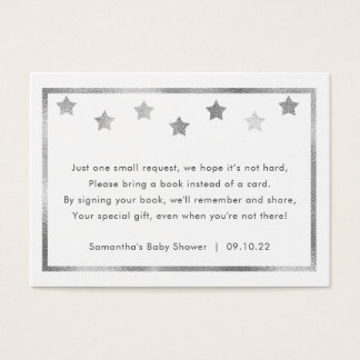 Twinkle Baby Shower book request, silver stars Business Card