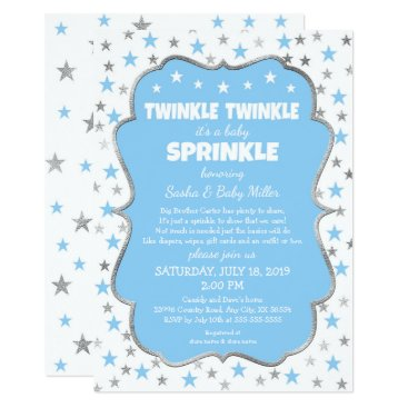 Toddler & Baby themed Twinkle Baby Sprinkle blue silver stars boy shower Card