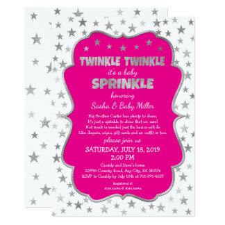 Twinkle Baby Sprinkle silver stars hot pink shower Card