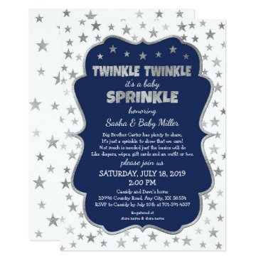 Toddler & Baby themed Twinkle Baby Sprinkle silver stars navy boy shower Card