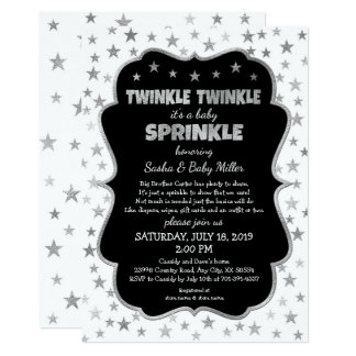 Twinkle Baby Sprinkle silver stars neutral shower Card