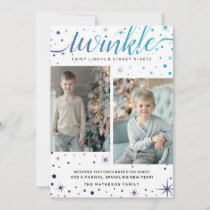 TWINKLE Falling Snow Enchanted | Purple & Teal Holiday Card
