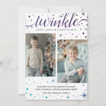 TWINKLE Falling Snow Pattern | Purple & Teal Holiday Card