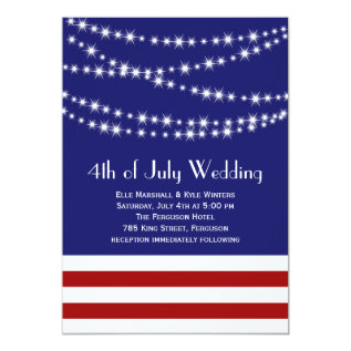 Twinkle Lights 4th Of July Wedding Invitation at Zazzle