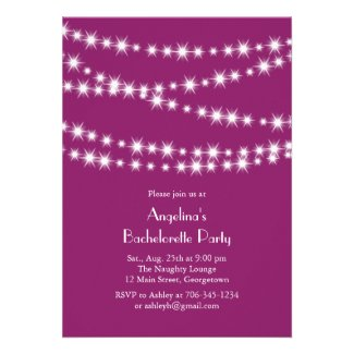 Twinkle Lights Bachelorette Party magenta Announcements