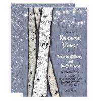 Twinkle lights Birch Tree Rehearsal Dinner Invites