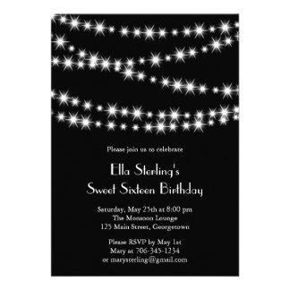 Twinkle Lights Birthday Invitation black