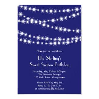 Twinkle Lights Birthday Invitation (indigo)