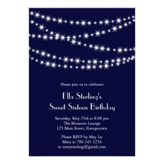 Twinkle Lights Birthday Invitation (navy)