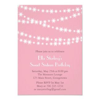 Twinkle Lights Birthday Invitation (pink)