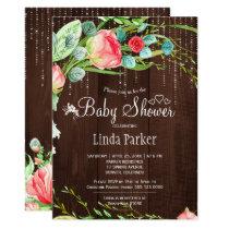 Twinkle lights blush pink garden roses baby shower card