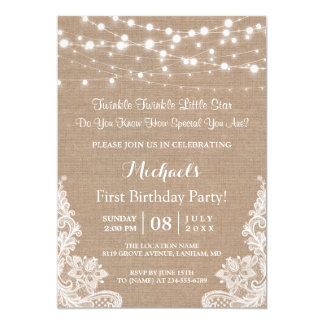 Twinkle Lights Burlap Lace First Birthday Party Card