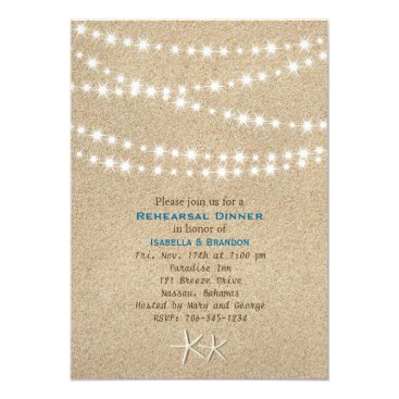Beach Themed Twinkle Lights Destination Rehearsal Dinner Invite