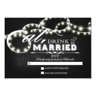 Twinkle lights Eat, Drink and Be Married RSVP Card