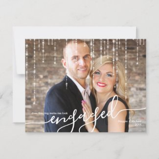 Twinkle Lights Engaged Christmas Photo Holiday Card