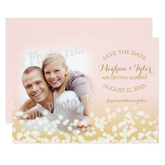 Twinkle Lights Gold and Pink Save the Date Card