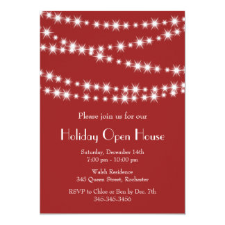 Twinkle Lights Holiday Open House (red) 5x7 Paper Invitation Card