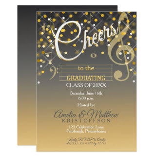 Twinkle Lights Music Theme Cheers Graduation Party Card
