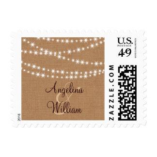 Twinkle Lights on Burlap Bride and Groom Stamp