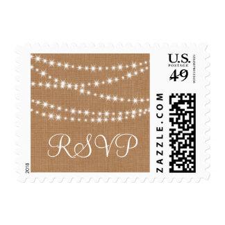 Twinkle Lights on Burlap RSVP Stamp