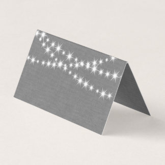 Twinkle Lights on Gray Burlap Folded Place Cards