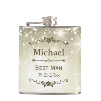 Twinkle Lights Outdoor Wedding Best Man Groomsman Flasks