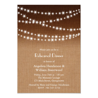 Twinkle Lights Rehearsal Dinner on Shaded Burlap Card