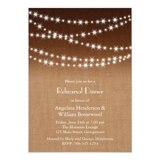 Twinkle Lights Rehearsal Dinner on Shaded Burlap Card