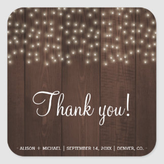 Twinkle lights rustic fall barn wood wedding square sticker