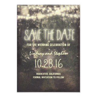 twinkle lights rustic save the date cards