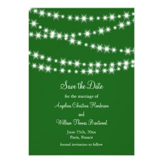 Twinkle Lights Save the Date (green) Announcement
