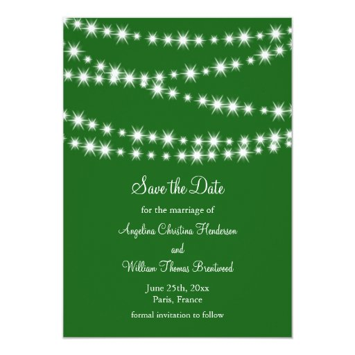 """Twinkle Lights Save the Date (green) 5"""" X 7"""" Invitation Card"""