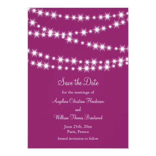 Twinkle Lights Save the Date (magenta) Card