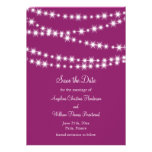 Twinkle Lights Save the Date (magenta) Personalized Announcements