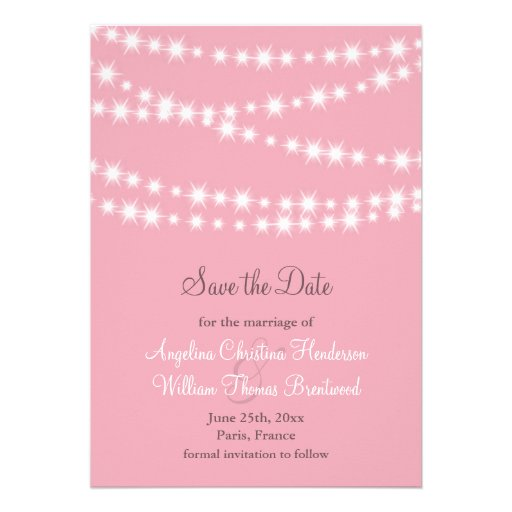 Twinkle Lights Save the Date (pink) Announcements